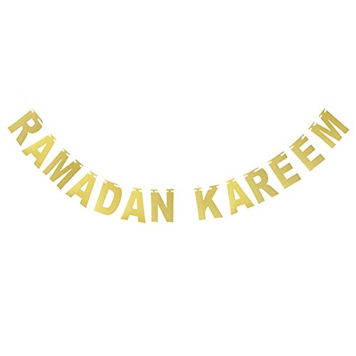 Decorative Hanging Banners Golden Letters, Ramadan Kareem
