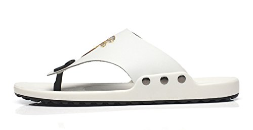 Summer TDA Men's Flip Leather White Beach Slip Flops Slippers on Casual aTqIa