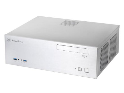 Silverstone Tek Aluminum Front Panel and SECC Body Micro ATX HTPC Computer Case with 2x USB 3.0 Front Ports GD04S-USB3.0 - Silver
