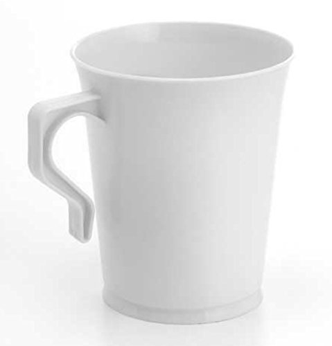 40 8 oz Plastic Coffee Cups Teacup White Coffee Mugs Reusabl