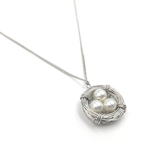 Best Selling Sterling Silver Mother Earth Love Nest and Pearl Bird Nest Pendant Necklace Gift