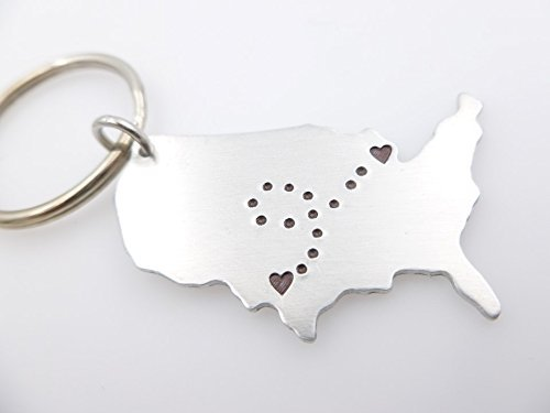 Amazoncom USA Map Keychain Long Distance Relationship Keychain - Usa location