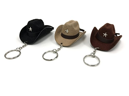 (pack of 3pcs Classic faux felt cowboy hat Keychain, Cool keychains for men and women : 3x2.5)