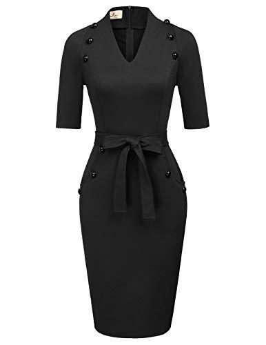 Women's Official V Neck Half Sleeve Chic Business Sheath Dress XXL Black