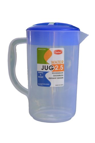 WATER JUG 2.5 LTRS . TRANSPARENT BODY, COLOURED LID