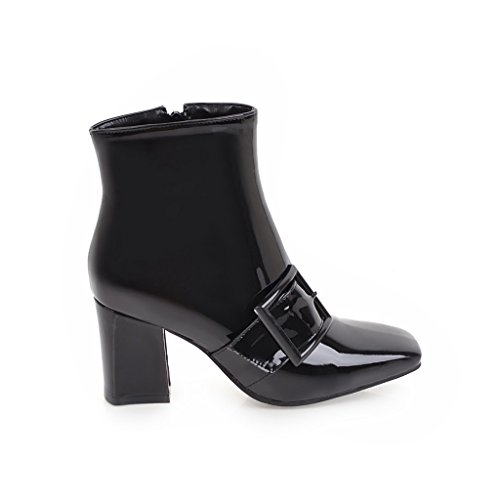 Lansdear Patent Zip Ankle Block Booties Square Boots Leather Casual Women's Party Toe Black Chunky Heels Dress rvxYq5rHw