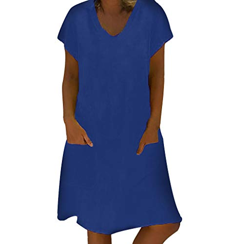 Women`s Dresses for Holiday and Cocktail Fashion  Women Summer V-Neck T-Shirt ES Casual Loose Beach Pocket Blue XXXXL Summer Dress for Woman Party Wedding / Women`s Dresses for Holiday and Cocktail Fashion  Women Summer V-Neck T-Sh...