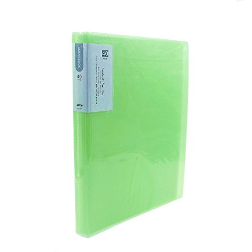 Clear Book 40 Pocket A4 Size 80-Page Protector Presentation Book Clear Sheets for Report Sheets,Artworks,Music Sheets-Green