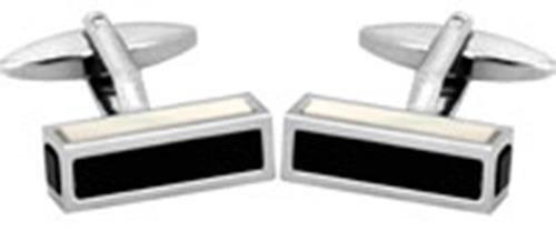Tube carre-Nacre-Onyx-côtés & cadeau Boutons de manchettes-Rhodié