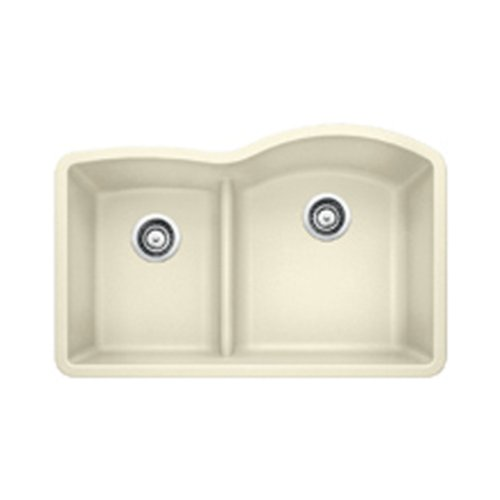 Blanco 441606 Diamond 1.75 Low Divide Under Mount Reverse Kitchen Sink, Large, Biscuit