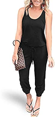REORIA Women Summer Casual Sleeveless Tank Top Elastic Waist Loose Jumpsuit Rompers with Pockets