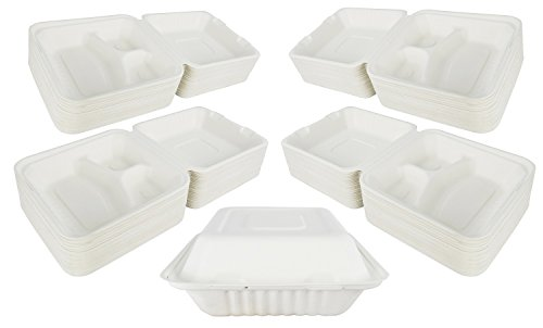Green Earth 8-Inch, 200-Count, 3-Compartment, Compostable Clamshell, Natural Bagasse (Sugarcane Fiber), Take-Out/To-Go Food Boxes - Biodegradable Containers, Hinged Lid - Microwave-Safe - -