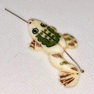 Hand Carved Frog Centerpiece Bead! Hopp'in! 004830F Spacer Beads and Roll Crystal String for Bracelets Jewelry -