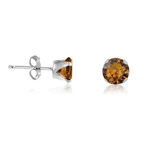 - Waldenn Round Coffee Brown CZ .925 Sterling Silver Stud Earrings - Choose Your Size | Model ERRNGS - 13241 | 4mm - Medium