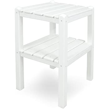 POLYWOOD TWSTWH Two Shelf Side Table, White