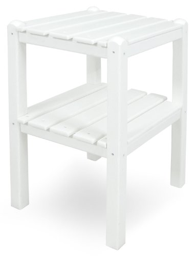 Grad White Table Decor - POLYWOOD TWSTWH Two Shelf Side Table, White