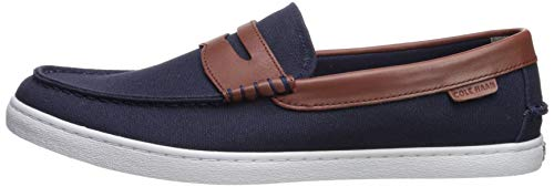 Cole Haan Men's Nantucket Loafer Shoe, Blazer Blue Textile/Chestnut Leather, 12 M US