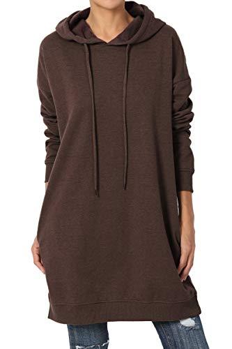 TheMogan Women's Hoodie Loose Fit Pocket Tunic Sweatshirts Brown - Sweatshirt Cotton Pullover Winter