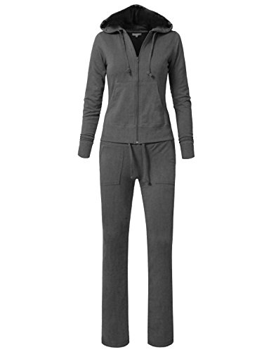 (NE PEOPLE Womens Hoodie and Sweatpants Tracksuit Set,Newts01-charcoal,1XL-Plus)