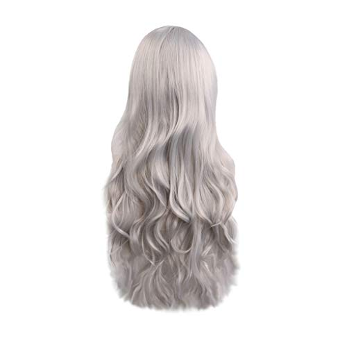 Inkach Long Curly Cosplay Wigs for Black Women Wavy Full Hair Wig with Side Bangs Hairpiece Heat Resistant Costume Party Synthetic Wig (Silver)]()