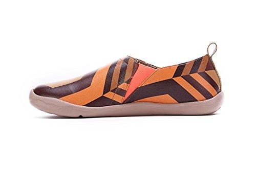 Uin Mans Toledo Kleurrijke Bedrukte Microfiber Loafer Schoenen Bruin