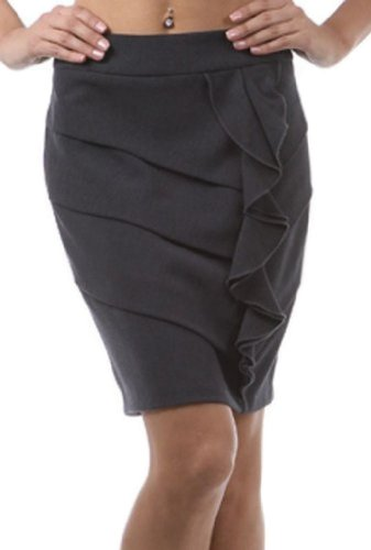 IMI-1765 Above the Knee Tiered Ruffle Skirt - Gray / S by Sakkas