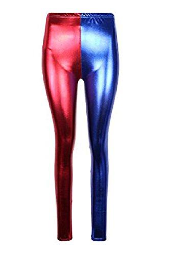 Misfits Halloween Costumes (Womens Harley Quinn Costume Suicide Squad Metallic Shiny Look Leggings Pants)