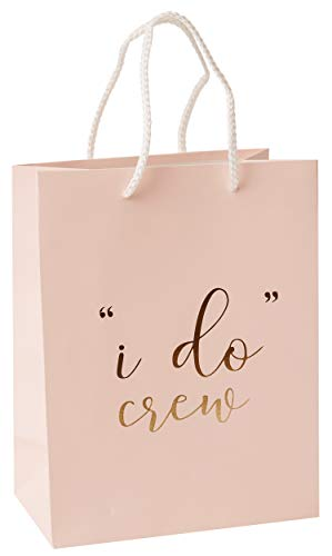 I Do Crew Gift Bags - 12 Pack Baby Pink Bridal Favor Bag 210msg with Gold Foil '