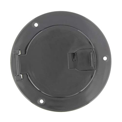 (Dumble Deluxe Round Electric Cable Hatch for 30 and 50 Amp RV Electric Cord – RV Camper Electric Cord Cover, Black)