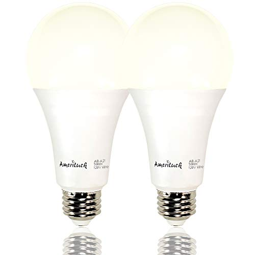 AmeriLuck 150W Equivalent LED Light Bulbs A21, 2200Lumens Non-Dimmable, 20W, 5000K Daylight, Omni-Directional (2 Pack) ()