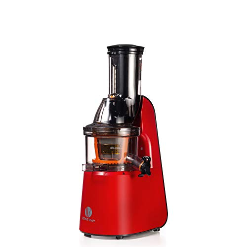 Ventray Masticating Juicer Machines- Slow Juicer Extractor with Wide Chute Big Feeding Mouth, Easy to Clean- Cold Press Juice Maker - Red