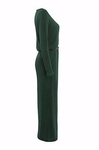 Noche Manga Otoño Elegante Casual Largos Sólido Vestidos Color Correas Slim Fiesta Vestido Casual Playa Cuello De Moda Verde Largos Fit De Mujer Larga Cinturón Redondo 4W7Xfwq4