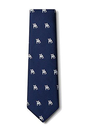 Men's Microfiber Hipster French Bulldog Animal Dog Tie Necktie (Navy Blue) Bulldog Tie