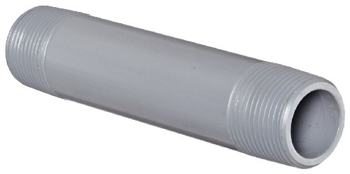 GF Piping Systems CPVC Pipe Fitting, Nipple, Schedule 80, Gray, 6 Length, 1 MPT