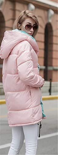 Modernas Parkas Espesar Outdoor pink Termica Plumas Manga Moda Informales Mujer Hell Chaqueta Acolchada Anchas Pluma Encapuchado Elegantes Invierno Larga wvwAzxqa