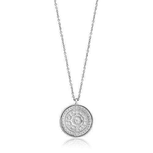 (925 Sterling Silver Long Statement Hammered Roman Coin Pendant Necklace for Women, White Rhodium)