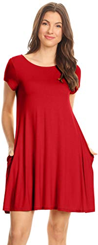 Red Jersey Dress - Red T Shirt Dress Casual Summer Dresses for Women wtih Pockets Short Sleeve Regular and Plus Size T Shirt Dress,4X,Red