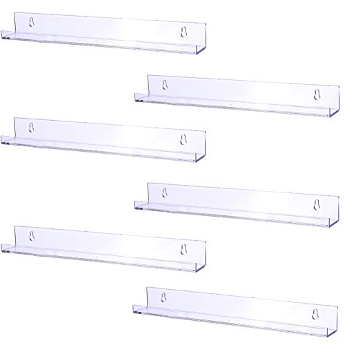 Sooyee 6 Pack 15 Inch Acrylic Invisible Kids Floating Bookshelf for Kids Room,Modern Picture Ledge Display Toy Storage Wall Shelf,Clear -