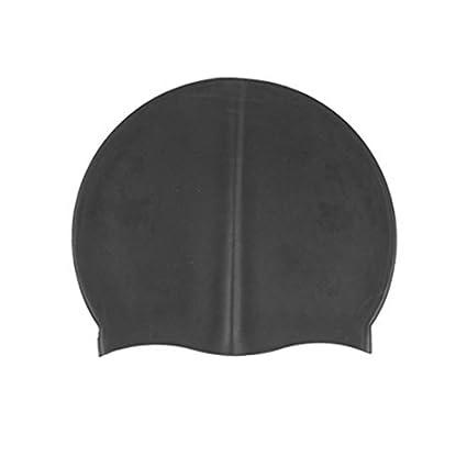 eDealMax silicona impermeable del Salto Natación Flexible Cap Negro Protector de cabeza Para Adultos