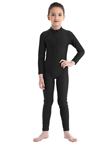 Alvivi Kid's Boys Girls Long Sleeve Unitard Jumpsuit Full Length Body suit Metallic Gymnastics Leotard Dance wear Costumes Mock-neck Black 4-5