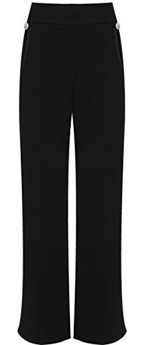 WearAll WEARALLWomen's Plus Button Embellished Pocket Palazzo Trousers Wide Leg Pants - Black - US 22-24 (UK 26-28)