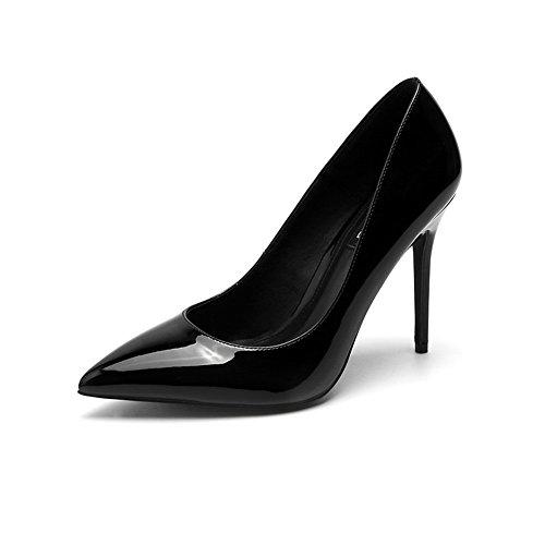 verni noir dames en 8cm professionnelles pointues chaussures taille cuir hauts 10cm avec fines 36 des Black10cm talons Couleur élégantes Black8cm XqSqnAwI