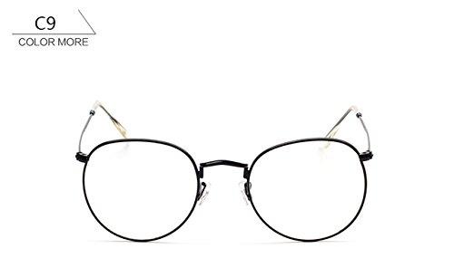 365Cor(TM) LadyRose Gold Round Sunglasses Women Brand Designer Mirror Sun Glasses Female Men Vintage Optical Frame Clear Shades UV400 - C9 Sunglasses