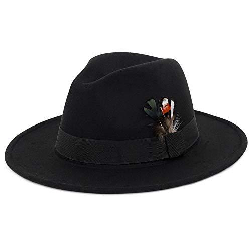 - Fedora Hat Felt Panama Crushable Vintage Style with Black Band and Feathe