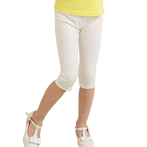 - NABER Kids Girls' Lovely Candy Color Cotton Stretch Jersey Summer Shorts Leggings Age 4-14 Years (7-8 Years, White)