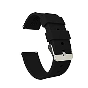 BARTON Watch Bands – Soft Silicone Quick Release Straps – Stainless Steel Buckle – Choose Color & Width – 16mm, 18mm, 20mm, 22mm, 24mm – Silky Smooth Rubber Watch Bands