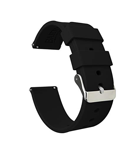 Barton Silicone Watch Bands - Quick Release Straps - Choose Color & Width - 16mm, 18mm, 20mm, 22mm - Black 20mm (Swiss Army Watch Band Loop)