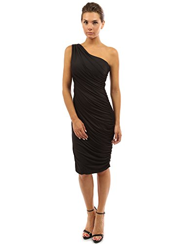 PattyBoutik Women's One Shoulder Cocktail Dress (Black S) - One Shoulder Dress