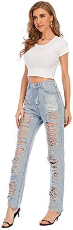 31bgL0KQ9WL. AC Nother Women's Casual Jeans Torn Distressed Jeans    Material: 80%cotton and 20%polyester. High quality stretchy material can increase the convenience of activity and make it be durable and comfortable to wear all day.Features:Denim fabric for washed effect, it is both stretchy and durable, skinny style jeans with asymmetric distressed details at knee.Design:Slim through hip and thigh shows a perfect body curve. Zipper fly and utility pockets are practically for daily life.Occasion: home casual pants; shopping; holiday; street fashion; daily wear.Contact us:Please contact us,if you are not completely satisfied with the item.We will try our best to solve your problem as early as we can.