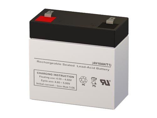 4 Volt 10 Amp Hour Sealed Lead Acid Battery Replacement with F1 Terminals by SigmasTek SP4-10